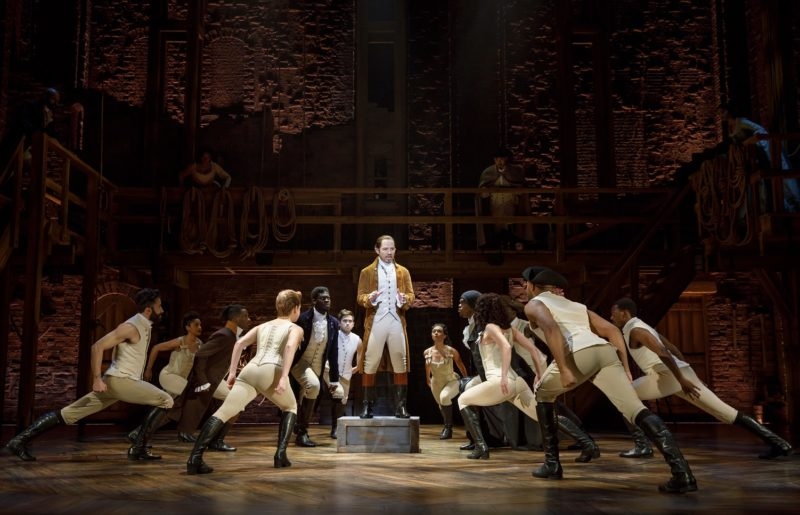 Hamilton stirs the crowd to join the revolution.